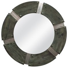 This rustic industrial mirror combines a variety of textured iron pieces together with studded edges to create a bold statement. This mirror is the perfect industrial chic accent in any room.