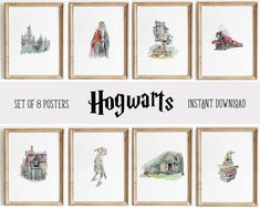 Hogwarts Wall Art Decor Posters | Set of 8 Harry Potter Digital – Magic Paperie Harry Potter Wall Art, Harry Potter Nursery, Harry Potter Poster, Harry Potter Baby Shower, Harry Potter Gifts, Photo Printing Services, Room Posters, Hogwarts, Wall Art Decor