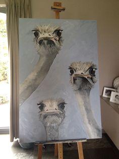 Struisvogelfamilie-olie op houten paneel-painted by Sofie Van Daele