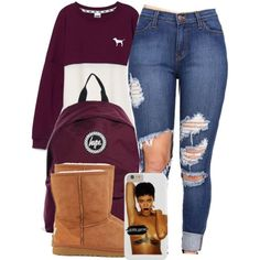 4:4:15 by codeineweeknds on Polyvore featuring Victoria's Secret PINK, UGG Australia and Hype