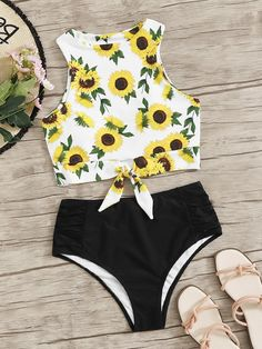 Sunflower Print Knot Hem Top With Ruched Bikini Set Bathing Suits For Teens, Summer Bathing Suits, Swimsuits For Teens, Cute Bathing Suits, Cute Swimsuits, Cute Bikinis, Girls Fashion Clothes, Teen Fashion Outfits, Look Fashion