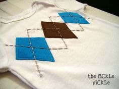 tHe fiCkLe piCkLe: BabY StuFf - Embellished Baby Boy Onesie with Argyle Applique/Embroidery