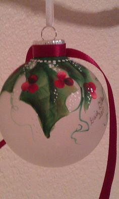 Both holly and handmade ornaments were traditional during Victorian Christmas celebrations. Painted Christmas Ornaments, Hand Painted Ornaments, Noel Christmas, Victorian Christmas, Handmade Ornaments, Diy Christmas Ornaments, Handmade Christmas, Christmas Decorations, Ball Ornaments