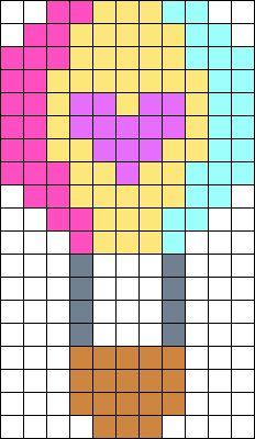 Kawaii Air Balloon Perler Bead Pattern / Bead Sprite