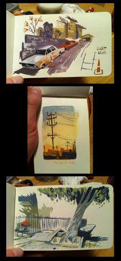 Lots of great little paintings by Matt Cruickshank (Ye Crooked Legge: A trip)