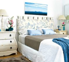 Classic Bedroom with Hanging Blue White Cushion Headboard, White Fabric Table Lamp Shades, White Fabric Table Lamp Shades, and Landscape Canvas Painting Wall Decor Home Bedroom, Bedroom Decor, Wall Decor, Pillow Headboard, Headboards For Beds, Creative Headboards Diy, Guest Bedrooms, Vintage Shabby Chic, Interior Design