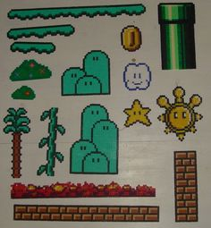 Added to my pile of Super Mario World Sprites, basically the left column there. Super Mario World Perler Collection Perler Bead Templates, Pearler Bead Patterns, Perler Patterns, Pearler Beads, Fuse Beads, Hama Beads Mario, Perler Bead Mario, Pokemon, Pearl Beads Pattern