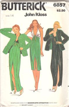 77dc3343e0 1980s Butterick 6857 Misses Halter Negligee Quilted Reversbile Jacket  Pattern JOHN KLOSS Womens Vintage Sewing Pattern Size 14 Or 10 UNCUT