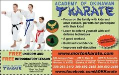 Academy of Okinawan Karate Free uniform and introductory lesson coupon Morton, Eureka and Peoria, Il