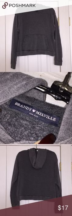 Brandy Melville hoodie Good condition barely worn dark gray sorta faded style one size fits all Brandy Melville hoodie with pockets. Any questions let me know! Brandy Melville Sweaters