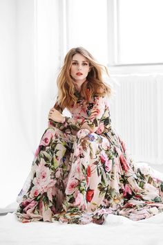 Olivia Palermo in a flowy floral maxi dress