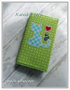 schöner Taschenkalender mit genähter Stoffhülle , für Katzenfans