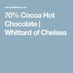 Buy Cocoa Hot Chocolate from Whittard of Chelsea. View this decadent hot chocolate and more luxury cocoa treats from our online selection. Dairy Free Chocolate, Hot Chocolate, Whittard Of Chelsea, Cocoa, Treats, Sweet Like Candy, Crockpot Hot Chocolate, Goodies, Theobroma Cacao