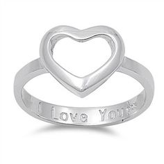 Sterling Silver Open Heart I love You Ring Sz 4-10 141986123456