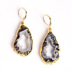 Black Geode Slice Earrings $89