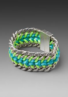 DANNIJO Amos Bracelet in Silver with Neon Green and Turquoise