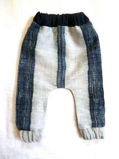 Hemp Batik Homespun Hand Woven Indigo Baby Slouch Pants. $48.00, via Etsy.