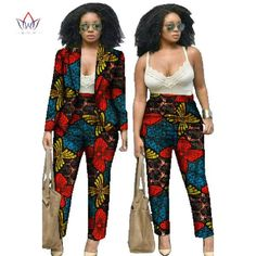 African Clothes for Women Dashiki African Print Clothing 2 Piece Set For Women Pant and Bazin Riche African Batik clothes Both African Dresses For Women, African Fashion Dresses, African Attire, African Wear, African Women, African Print Pants, African Print Clothing, African Print Fashion, African Clothes