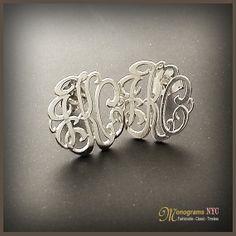 0.5  Mini Sterling Silver Three Initial Monogram by MonogramsNYC, $149.95