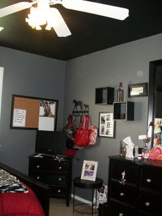 Black Ceiling Gray Walls And White Trim Shutters Furniture A Bit Of Red Entertainment Corner With The Bedrooms Design