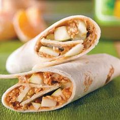Peanut butter, apple, granola wraps. Great snack. :)