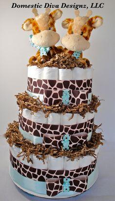 Twin Giraffe Diaper Cake  Twin Turquoise by DomesticDivaDesignz