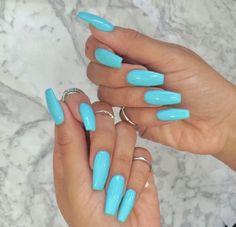 Nails art girl polish cute makeup nail inspo in 2019 Acrylic Nails Coffin Short, Blue Acrylic Nails, Simple Acrylic Nails, Blue Coffin Nails, Acrylic Nails For Spring, Ballerina Acrylic Nails, Aycrlic Nails, Neon Nails, Swag Nails