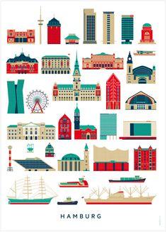 Poster von Malte Kaune. Hamburg hat nicht nur viele tolle Leute vorgebracht, sondern auch viele tolle Sehenswürdigkeiten. Erkennst du sie alle? • Design: Malte Kaune (Human Empire) • Maße: 50 x 70 cm • Papier: 250g/m² mattes,...