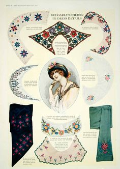 1913 Color Print Edwardian Collar Bulgarian Embroidery Vintage Floral YDL8