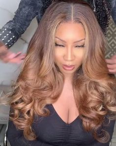 Hair Type: Brazilian Virgin Human Hair Cap: Add extra detachable band to fasten cap Knot: Single knots with Bleached,Nautal Look Front Hair Styles, Curly Hair Styles, Natural Hair Styles, Hair Front, Blonde Wig, Blonde Balayage, Ash Blonde, Blonde Hair Brown Skin, Honey Blonde Hair