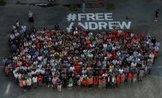 "Participants of the flash mob in support #FreeAndrew missing in Ukraine special photojournalist Mia ""Russia Today"" Andrew Stenin © Valeriy Melnikov / Courtesy MIA ""Russia Today"""