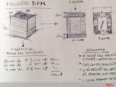"""boceto de pub """"dmp"""" de moix - taburete compacto con un revistero lateral - 150 €."""