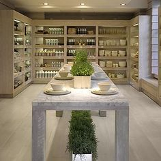 Daylesford Organic farm shop - a fabulous idea for open plan shelving in a contemporary kitchen