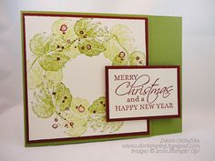 I like the repeat stamping to create the wreath and the splatter pattern to make the berries.