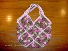 Crocheted Granny Square Tote in Pink & Pink Camo Yarn