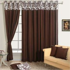 Buy Dark Brown Color Solid Curtains Online with Readymade Eyelets brown color curtains - Brown Things Wide Curtains, Brown Curtains, Colorful Curtains, Dark Brown Color, Curtain Designs, Decorating Your Home, House Design, Brown Things, Living Room