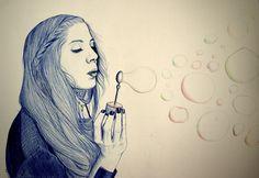 """Burbujas""  2012 Ballpoint pen and color pencils"