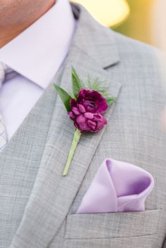 Single Purple Peony with Greens Boutonniere |  ERICA MENDENHALL PHOTOGRAPHY | JENSENS | MENS WEARHOUSE | CELEBRATIONS OF JOY | http://knot.ly/6498BLnaC | http://knot.ly/6499BLnah