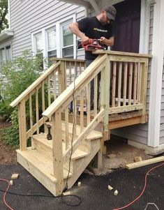 How We Rebuilt Our Front Stairs Treppen Front Porch Steps Porch Patio Steps, Outdoor Steps, Wood Steps, Concrete Steps, Outdoor Patios, Outdoor Rooms, Outdoor Living, Balcony Railing Design, Deck Railings