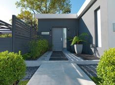 Elle Dekor, Modern Front Door, House Landscape, Outdoor Living, Outdoor Decor, Modern Landscaping, House Front, Garden Planning, Land Scape