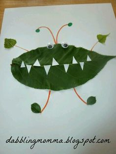 leaf creature number 2 pm nature crafts activities kidsCrafts and Activities Made from Nature at Mom's Library Welcome to this week's edition of Mom's Library Kids Crafts, Leaf Crafts, Book Crafts, Preschool Crafts, Fall Crafts, Projects For Kids, Diy For Kids, Craft Projects, Arts And Crafts