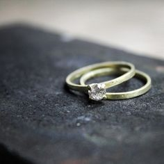 Handmade engagement rings by Brooklyn NY artist Tesia Alexandra. #weddings #engagementrings #simple #jewelry #diamonds