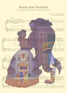 Here is a sheet music art print of Belle and the Beast from Disneys Beauty and…