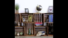 DIY Wooden Crate Shelf (This would only work with genuine vintage crates as ones… - Wooden Crates Bookshelf Wood Crate Shelves, Crate Bookshelf, Pallet Furniture Bookshelf, Crates On Wall, Rustic Bookshelf, Bookcase Headboard, Bookshelf Ideas, Book Shelves, Wood Storage