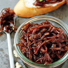 Red Onion Chutney Recipe Condiments and Sauces with olive oil, purple onion, yellow onion, shallots, kosher salt, ground black pepper, jalapeno chilies, balsamic vinegar, red wine vinegar, brown sugar, cinnamon, bay leaf