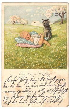 Ein treuer Wächter Pauli Ebner Kind mit Hund AK 1920 | eBay