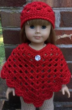 "SALE Handmade poncho & hat set for Doll, Crochet doll poncho and beanie set in metallic red"", Gi Crochet Doll Clothes, Knitted Dolls, Girl Doll Clothes, Doll Clothes Patterns, Crochet Dolls, Doll Patterns, Crochet Baby Poncho, Crochet Hot Pads, Vintage Crochet Patterns"
