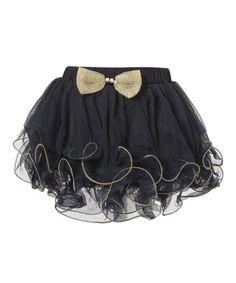 Look at this #zulilyfind! Navy & Gold Bow Tutu - Infant, Toddler & Girls #zulilyfinds