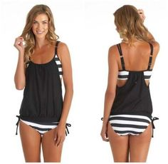 Swimwear women Stripes Lined Up Double Up Tankini Top bathing suit swi – iuly.com