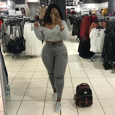27 Ideas Birthday Outfit Plus Size Grey Thick Girls Outfits, Curvy Girl Outfits, Plus Size Outfits, Trendy Outfits, Thick Girl Fashion, Curvy Women Fashion, Plus Size Fashion, Womens Fashion, Chill Outfits
